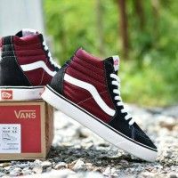Sepatu Vans SK8 Hi Premium BNIB / Hitam Maroon / Sneakers Pria