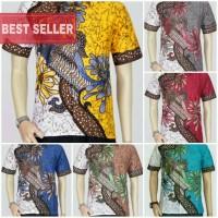 Jual Baju Batik Blok Warna Bunga Moder || Batik Pria 2614-2618 Murah