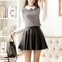 Best Flare Skirt Kulit Leather Flare midi A line slim