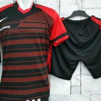 Jual Setelan Baju Nike T90 Hitam MERAH Kaos Olahraga Kostum Futsal Murah
