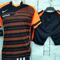 Jual Setelan Baju Nike T90 HITAM ORANGE Kaos Olahraga Kostum Futsal Murah