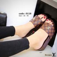 Sandal WEDGES SLOP BURBERRY Coklat sepatu sandal wanita wedges kokop