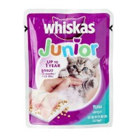 Whiskas junior wet food tuna mackerel sachet 85 gram