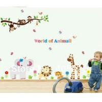 WALLSTICKER STIKER DINDING 60X90 AY9052 WORLD OF ANIMAL