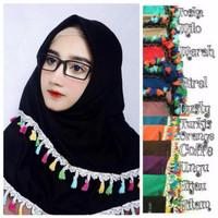 Jual Jilbab Instan/Simple Segiempat Tassel Renda Import Murah