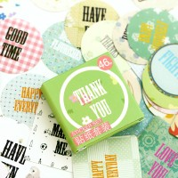 Green Thank You Decorative Mini Label Sticker Pack - Stiker Set Lucu