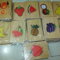 Jual Mainan anak edukatif kayu puzzle buah Murah