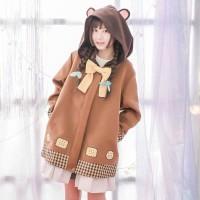 Jaket Wanita Cute Biscuit Hooded Jacket Jaket Lucu Japan Korean Style