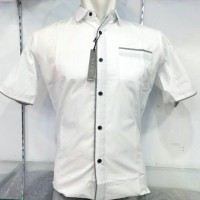 Jual Kemeja Slim Fit Fashion Pria Putih Lis Abu Lengan Pendek KPL-86a Murah