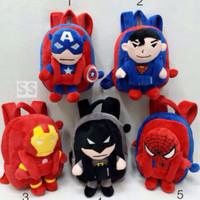 Tas Ransel Backpack Anak Boneka Superman Spiderman Batman Ironman Uk M
