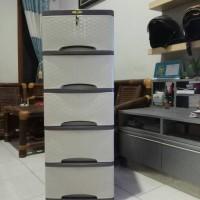 Jual lily lemari pakaian / lemari plastik motif rotan 5 susun -  abu Murah