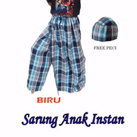 Jual sarung celana anak instan karakter UJE kotak-kotak FREE PECI Baju koko Murah