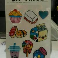 stiker/sticker/gambar tempel/sushi/susu/bubble/lolipop/permen/cupcake
