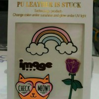 sticker/stiker/gambar tempel/meow/cat/kucing/bunga/mawar/rose/pelangi