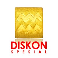 Tiaria 9K Yellow Gold Charm Bracelet Aquarius Gelang Emas