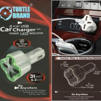 TURTLE BRAND 4 Port USB Car Charger With power LED indicator