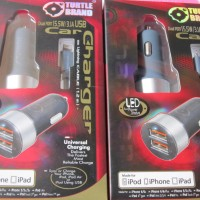 TURTLE BRAND 2 Port USB Car Charger With Lightning Cable
