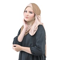 Two Sided Triangle Hijab 060 Brown Peach - Promo