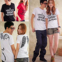 (sepasang) CP PEACE LOVE WHITE Kaos Couple Sayap Angel Devil