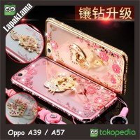 Jual Soft Back Case Flower Swarovski Diamond iRing Oppo A39 / A57 Casing Murah