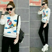 Jual doraemon fly set 2in 1 white bahan babyterry + celana spandex s Murah