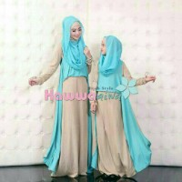 Couple Syari Mom Kid Hawwa Aiwa CreamGamis Hijab Kemeja Baju muslim