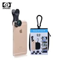 Jual Lensa Handphone Apexel 5 in 1 Lensa Fish Eye Wide Angle Macro Tele CPL Murah