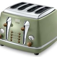 Delonghi Bread Toaster CTOV4003.GR ( Hijau) Vintage - Garansi Resmi