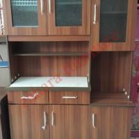 Jual Kitchen Set Lemari Makan / Piring Coklat Elegant 120x40x180 LMC148 Murah