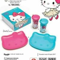Jual Tupperware Hello Kitty set Pink / Biru (tumbler +plate) Murah