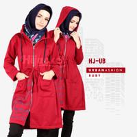 Jaket Wanita Muslimah / Sweater Fleece Hoodie Sablon XL