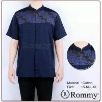 baju muslim pria koko pendek terbaru Blue Navy Kombinasi Batik