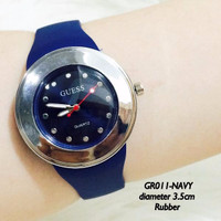 Jam tangan grosir guess monol wanita tali rubber karet fashion watch