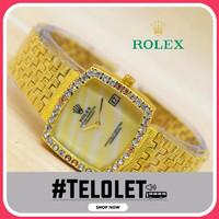 Jam Tangan Wanita Rolex Segi Rantai Ukir - Warna Emas Plat Kuning ( ja
