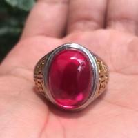 Jual Cincin Titanium Tanam Batu Merah Delima Small Size HQ Murah