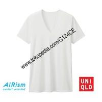 KAOS DALAM PRIA AIRism T-SHIRT UNIQLO V NECK 182486 162848 putih white