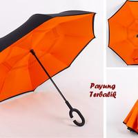 """Payung Terbalik """"C"""" Handle ORANGE (Kazbrella), Solusi di saat hujan"""