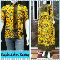 Jual Couple Batik Jiwangga Sekar Kuning Gamis dan Kemeja Murah