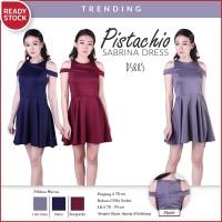 Pistachio Sabrina Dress Gaun Flare Pakaian Wanita DS885
