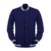 Jual Jaket Baseball Varsity Polos Biru Navy/ Material Premium/ Harga Murah Murah