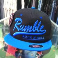 snapback RMBL hitam biru bordir / rumble / topi distro SID