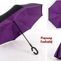 """Payung Terbalik """"C"""" Handle PURPLE (Kazbrella), Solusi di saat hujan"""