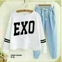 BT6536 Denim White Exo Set 2in1 - Setelan wanita - setelan celana