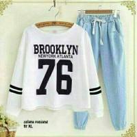 BT6537 Denim White Brooklyn76 Set 2in1-Setelan wanita -setelan celana