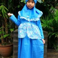 Gamis anak organdi biru floral