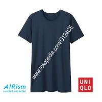 KAOS DALAM PRIA AIRism UNIQLO T-SHIRT CREW NECK 162849 NAVY