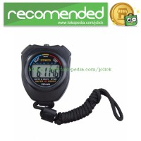 Professional Stopwatch Handheld LCD Chronograph Timer with Strap - Bla