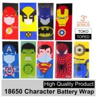 Jual 18650 Character Battery Wrap | superheroes super batere wraps baterai Murah