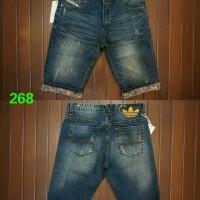 celana pendek jeans ADIDAS DIESEL import motif floral/bunga