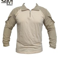 Combat Shirt Kaos BDU Cream Gratis Patch